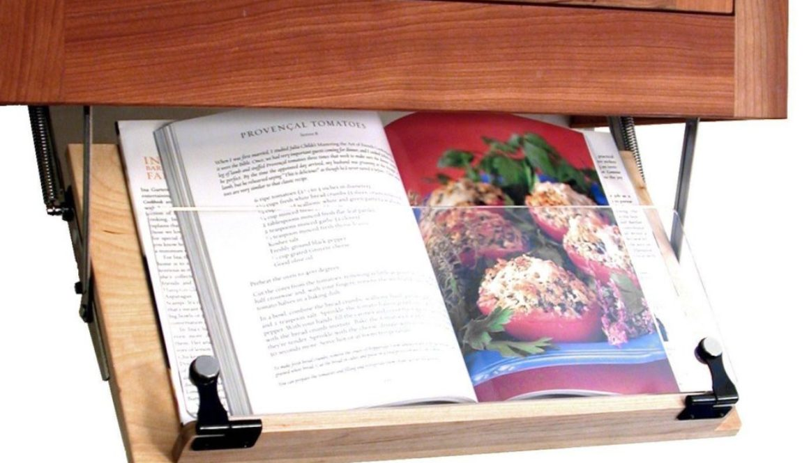 Under Cabinet Mounted Cookbook Holder – Wood